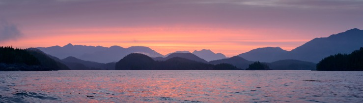 11913 x 3404 pixel image of sunrise in Nootka Sound, BC