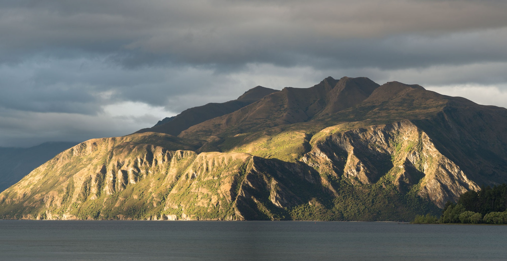 Stevensons arm in Lake Wanaka lit up by the evening light.