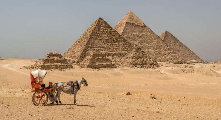 ancient pyramids and mule wagon at Giza, egypt
