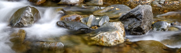 High resolution panoramic of rocks in flowing river