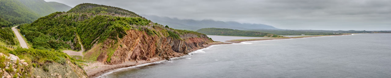 Monumental Cabot Trail road on Cape Breton Island, Nova Scotia