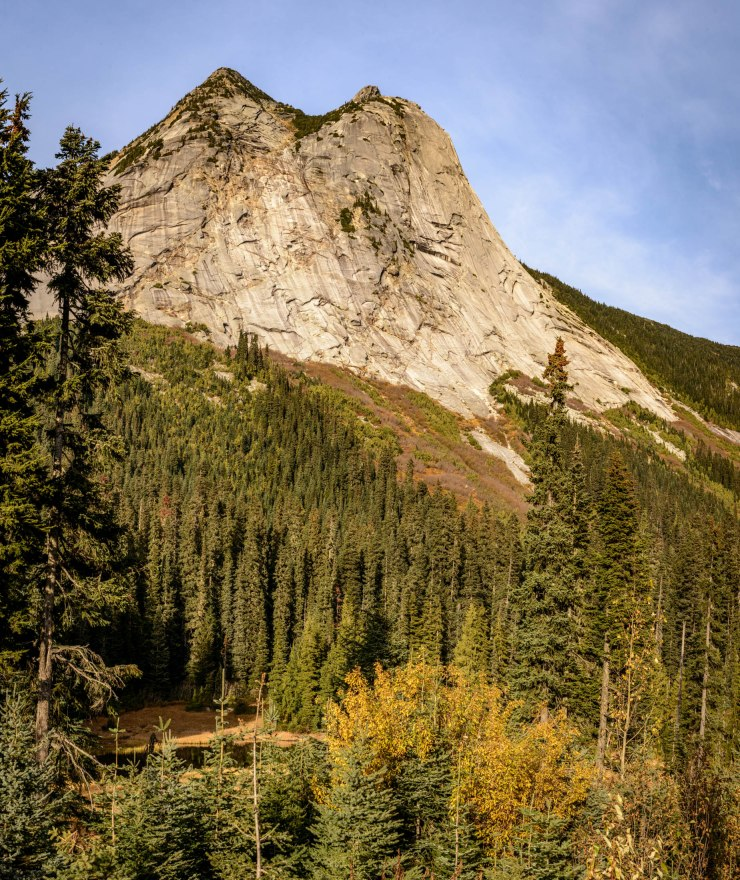sheer rockfaces on mountain along Coquihalla Driver in British Columbia