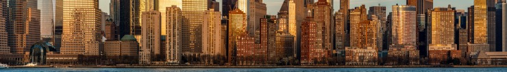 High resolution image of New York buildings at sunset