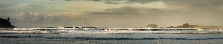 large panoramic of surf at Cox Beach