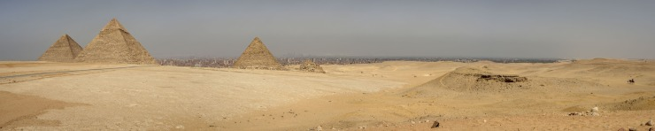 large format image of ancient pyramids at Giza, egypt