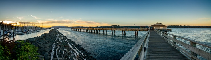 Campbell River fishing pier at sunset.