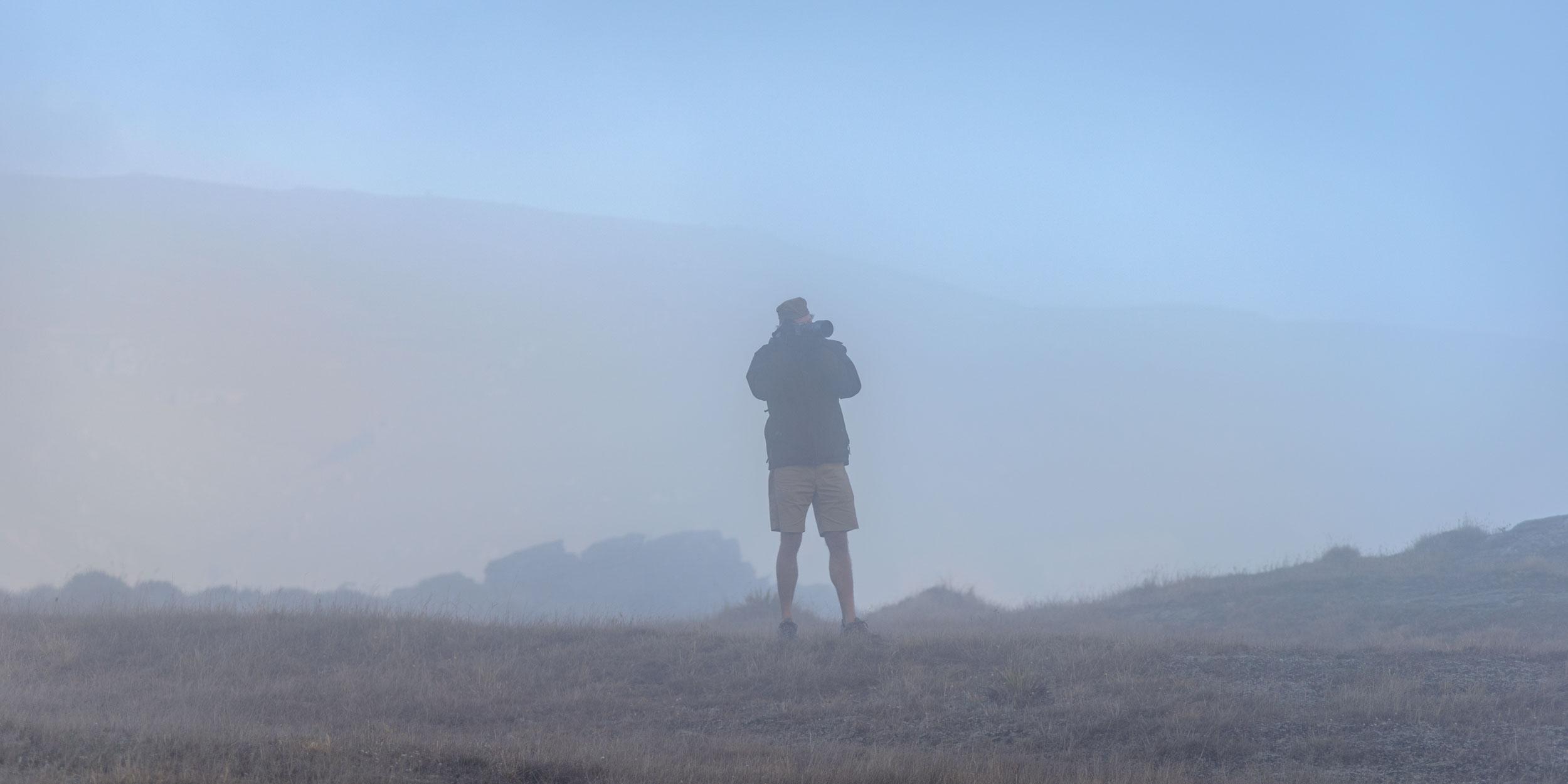 Fog rolls around photographer