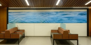 part of lobby mural in hospital