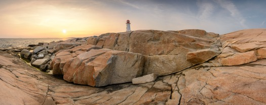 Peggy's Cove Lighthouse at sunset
