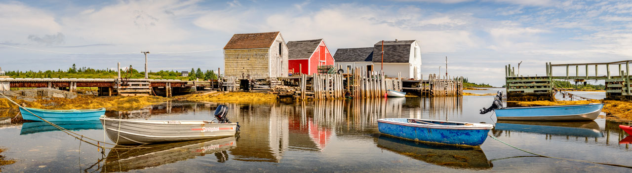 Nova Scotia fishing village boat houses
