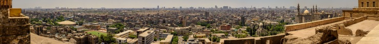 Wide expanse of Cairo city in large format panoramic image