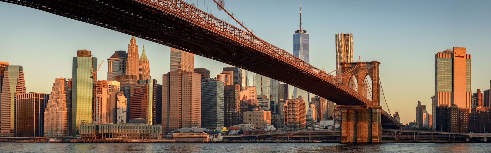 Early morning light on the Brooklyn Bridge and Lower Manhattan