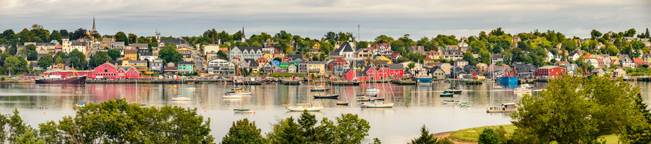 Large format panorama image of colourful Lunenburg in Nova Scotia