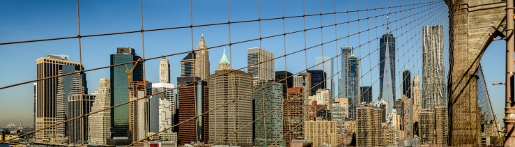Large format image from Brooklyn Bridge over looking Lower Manhattan