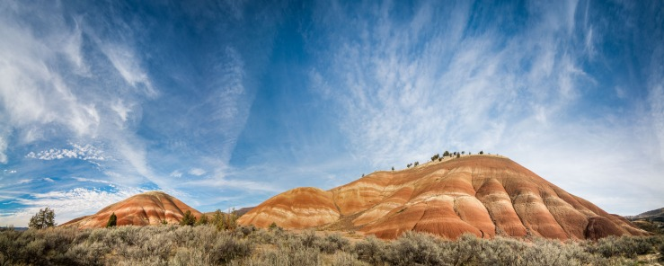 colourful volcanic soils create dramatic formations at Painted Hills in oregon.