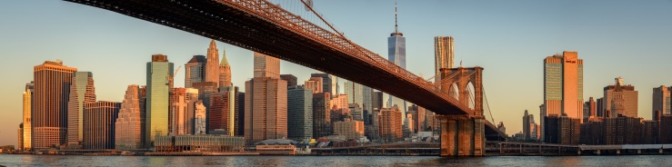 Morning light on the buildings of Lower Manhattan and Brooklyn bridge