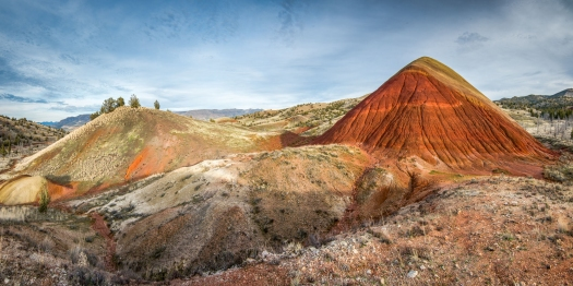 painted hills made up of different colours of volcanic ash and clay