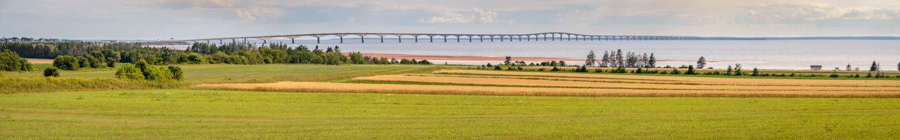 The amazing 12.9 km long Confederation Bridge viewed from Carlton.